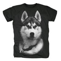 NEW Pet animal Siberian Husky DOGS wolf print COTTON T-shirt Cool Tops Short Sleeve Hipster Men's  t shirts unisex tee
