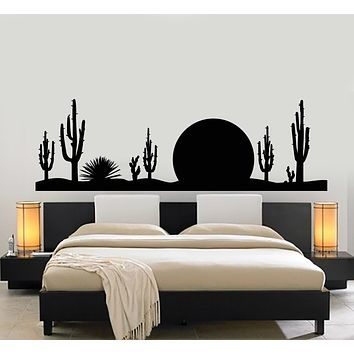 Vinyl Wall Decal Western Cactus Sunset Wild West Desert Nature Stickers Mural (g1093)