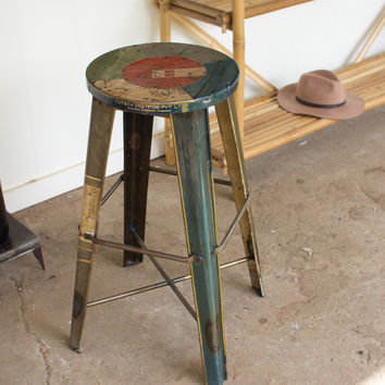 Recycled Iron Bar Stool with Round Seat-Assorted Colored Seats
