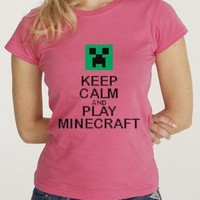 Girls Minecraft Creeper Inspired Keep Calm and Play Minecraft Childs T-Shirt