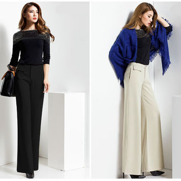 2017 classic fashion women wide leg pants woman office work Slim ladies high waist pants winter trousers black palace