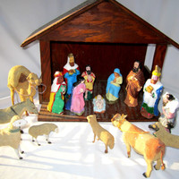 Rustic Handmade Lighted Nativity Manger Wood Figures