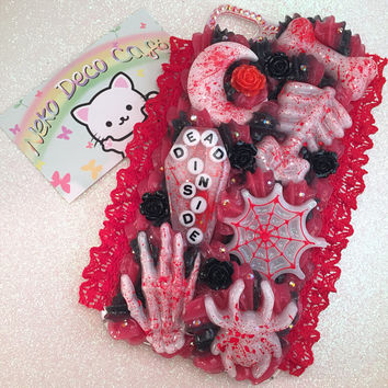 Ready to Ship! iPhone 7+ PLUS Creepy Goth Decoden Case