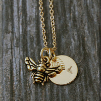 Gold Bumble Bee Necklace, Initial Charm Necklace, Personalized Necklace, Bee Charm Necklace, Bee pendant, Insect Necklace, Insect Jewelry