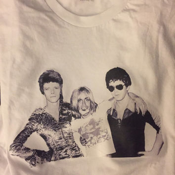 David Bowie, Iggy Pop & Lou Reed rare image t shirt. **BACK IN STOCK**
