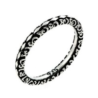 2.5mm Antiqued Marquis Flora Design Stackable Sterling Silver Ring