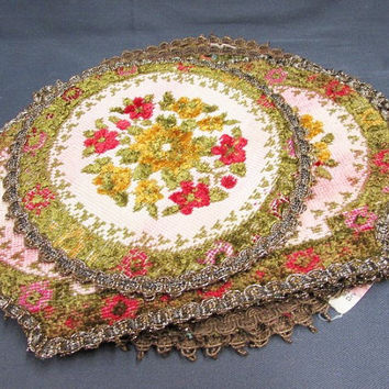 Vintage Needlepoint Tapestry Group Muylle Floral Woven Mats | Red Green Yellow Flowers