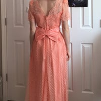 80s/90s Pink Floor Length Lace Gown Size 9-10