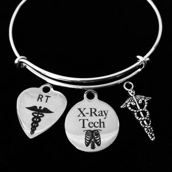 RT Caduceus Radiation Technologist X-Ray Tech Adjustable Bracelet Expandable Charm Bangle Medical Gift