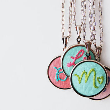 Custom Embroidered Initial Necklace. Fabric Pendant, Hand Stitched Letter with Heart - - 20 inch chain.