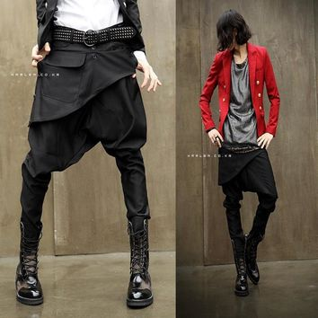 New 2016 Men's Hip Hop Skinny Pants Baggy Harem Trousers Mens Joggers Drop Crotch Pants Men Pantalones Hombre