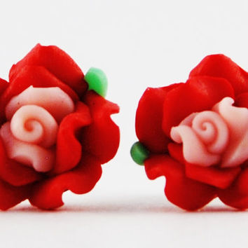 Red Rose Stud Earrings with Pink Center - Polymer Clay Earrings - Post Earrings