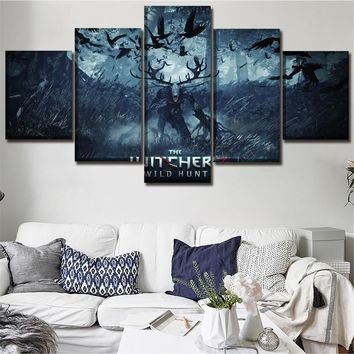 One Set High Quality Canvas Print Game The Witcher 3 Wild Hunt Painting Poster 5 Pieces Wall Art Home Decor Modular Picture