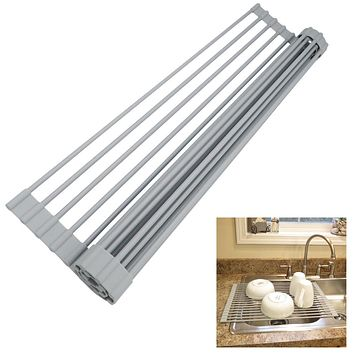 Evelots NEW Dish Drying Rack-Roll Up-Over the Sink-OVERSIZE-Stainless/Silicone