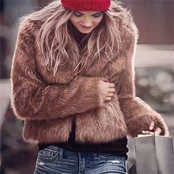 AOTEMAN Faux Fur Coat Women Winter 2018 Casual Thick Warm Faux Fur Jacket Long Sleeve Slim V-neck Fur Coat Outwear Plus Size 3XL