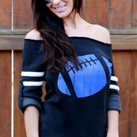 Old-School Football Off the Shoulder Sweater.  Sizes S-XL. Black with Your Choice of Football Color!