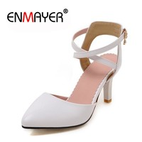 ENMAYER Spring High Heels Shoes Woman Thin Spike Heel Point Toe Women Pumps Party High Heel Shoes Slip-On Casual Sexy Lady Shoes