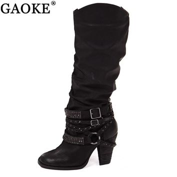 2018 Newest Women Boots Strap Buckle Boots Rivet Brand Wearing Simple Style Sexy Knee High Boots High Heels Shoes Woman