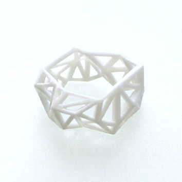 fall fashion white geometric ring Triangulated Ring by ArchetypeZ