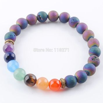 7 Chakra Colorful Mineral Beads Bracelets Bangles Natural Gem Stone Rosary Yoga Mala Bead Meditation Men Women Jewelry PK3326