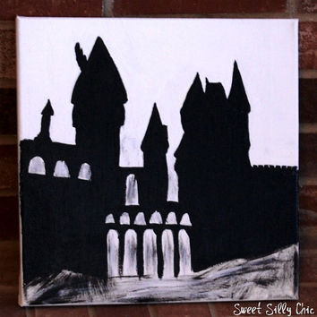 Hand Painted Hogwarts Silhouette Canvas Art - Harry Potter Wall Art