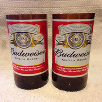 Budweiser Beer Bottle Tumbler Drinking Glasses. Man Cave. Recycled Glassware.