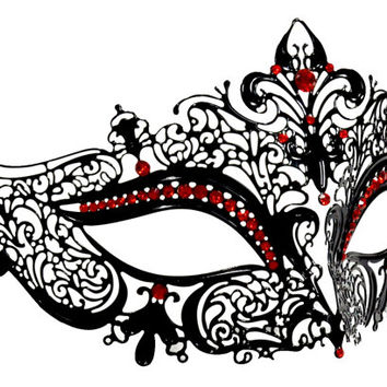 Black Space Filigree Masquerade Mask With red Rhinestones