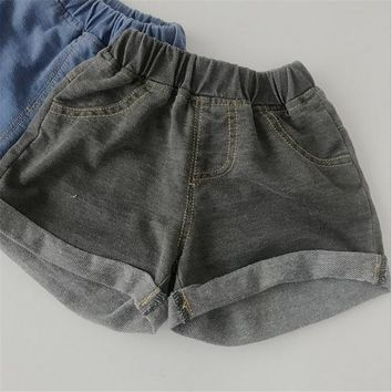 Hot Shorts Child Short Pants Boys Girls Denim  Pants Baby Kids Short Jeans Solid Flanging Rim Clothes Elastic Waist Casual PP AT_43_3