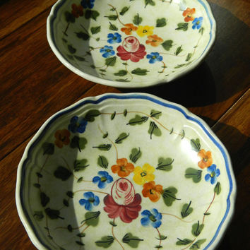 Pair of Vintage Fruit Bowls / Dessert Bowls by Longchamp in the Nemours Pattern Made and Hand Painted in France - True French Cottage Style