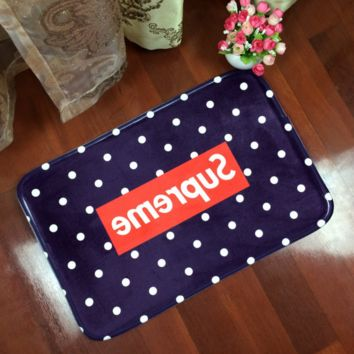Navy Blue Dot Pattern Supreme Anti-skid Alphabet Bathroom Carpet Living Room Bedroom Mat