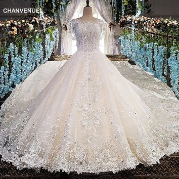 LS00151 Luxury wedding dress for bridal beaded ball gown cap sleeves lace wedding gown vestidos de noivas real photos 2018