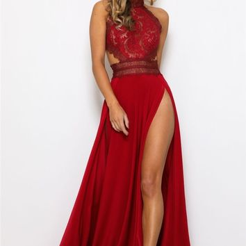 Penelope High Slit Maxi Dress - Red