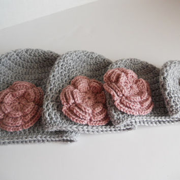 Crochet baby hat, baby girl hat, beanie, grey hat, photo prop, grey hat, pink flower. Listing for one hat, size of your choice