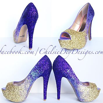 Glitter Peep Toe Pumps, Lilac Purple Gold Ombre Wedding High Heels