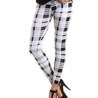 Cotton Plaid Print Leggings by Charlotte Russe - Black/White