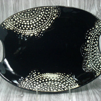 Black and White Lace Ceramic Oval Platter, Large Oval Serving Dish, Lace Textured Handmade Pottery Platter, Ceramic Serving Dish