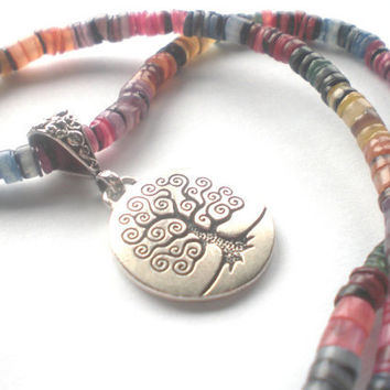 Rainbow Tree of Life Necklace - Hippie Necklace