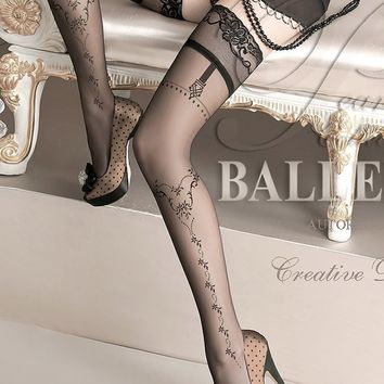Ballerina Hosiery 127 Hold Up Thigh High Stockings w/ Embroidery Tops