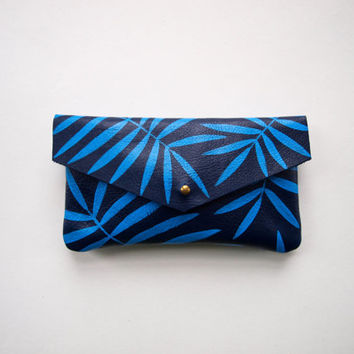 Blue Palm Leaf Leather Sunglass Case