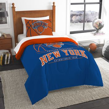 """Knicks OFFICIAL National Basketball Association, Bedding, """"Reverse Slam"""" Printed Twin Comforter (64""""x 86"""") & 1 Sham (24""""x 30"""") Set  by The Northwest Company"""