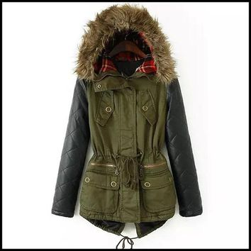 Women  Coats Army Green Down Hooded
