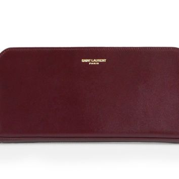 Saint Laurent YSL Classic Women's Oxblood Burgundy Calfskin Leather Full Zip Wallet 326599