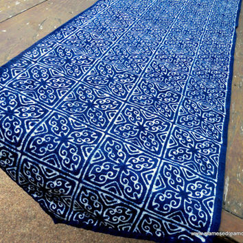 Table Runner In Natural Hmong Indigo Batik Blue Cotton 60 inches or 100 inches