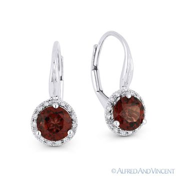 1.75ct Round Cut Garnet Gem & Diamond Leverback Baby Earrings in 14k White Gold