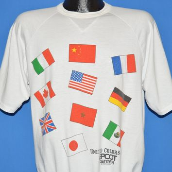 80s Disney Epcot Center United Colors Flags t-shirt Large
