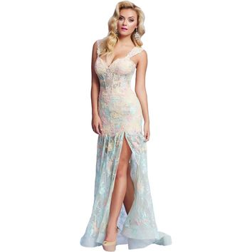Mac Duggal Womens Lace Boning Formal Dress
