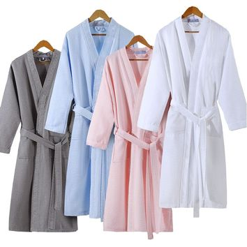 Lovers Summer Cotton Waffle Bathrobe Women Suck Water Kimono Bath Robe Plus Size Sexy Peignoir Dressing Gown Bridesmaid Robes
