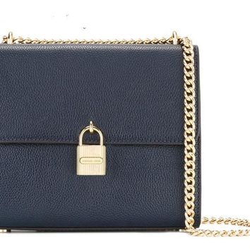 """Michael Kors"" Simple Fashion  Solid Color Padlock Metal Chain Single Shoulder Messenger Bag MK Women Small Square Bag"