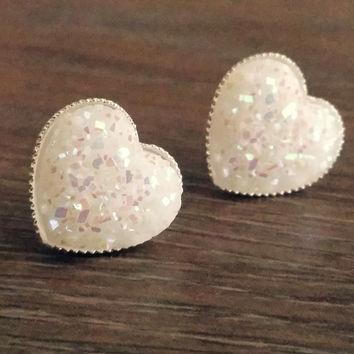 Druzy earrings- Opal white heart drusy silver tone stud druzy earrings