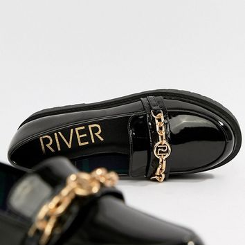 River Island chunky flatform loafers with chain detail in black at asos.com